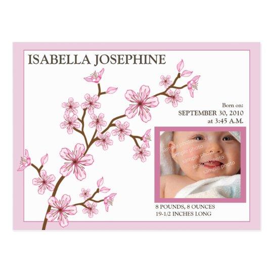 Cherry Blossom Baby Girl Birth Announcement: pink Postcard