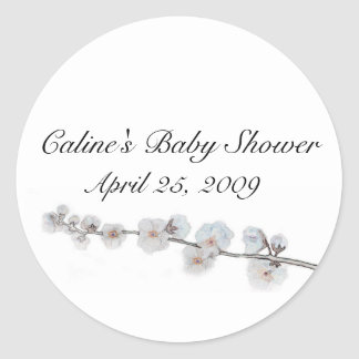 cherry-blossom, Baby Shower, Classic Round Sticker