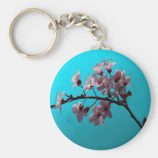 Cherry Blossom Basic Round Button Key Ring