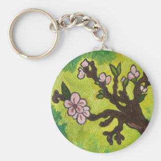 cherry blossom basic round button key ring