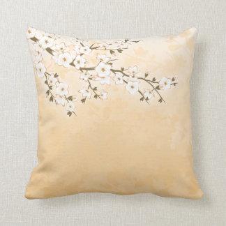 Cherry Blossom Beige Cream Asia Floral Cushion