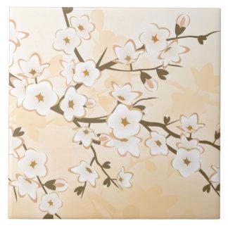 Cherry Blossom Beige Cream Floral Asia Tile