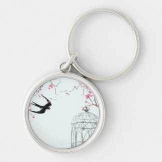 Cherry blossom bird birdcage keyring - unique gift