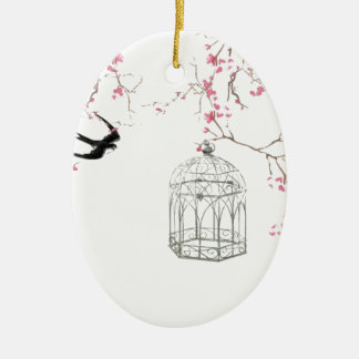 Cherry blossom, bird, birdcage - original, stylish ceramic oval decoration