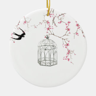 Cherry blossom, bird, birdcage - original, stylish christmas ornament