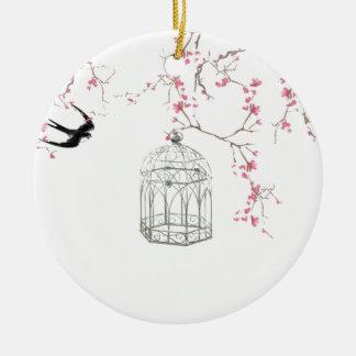 Cherry blossom, bird, birdcage - original, stylish christmas ornament