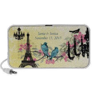 Cherry Blossom Bird Black Chandeliers Eiffel Tower Travel Speaker