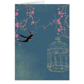 Cherry blossom, birdcage card, invite, birthday card