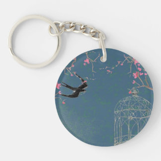 Cherry blossom birdcage keyring - unique, special Single-Sided round acrylic key ring