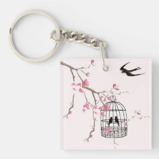 Cherry blossom birdcage keyring - unique special Single-Sided square acrylic key ring