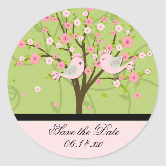 Cherry Blossom Birds Save the Date Round Stickers