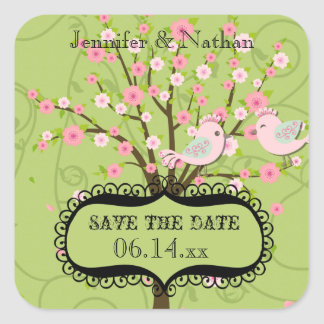 Cherry Blossom Birds Save the Date Stickers