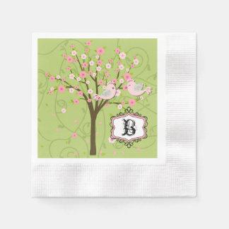 Cherry Blossom Birds Wedding Paper Napkins