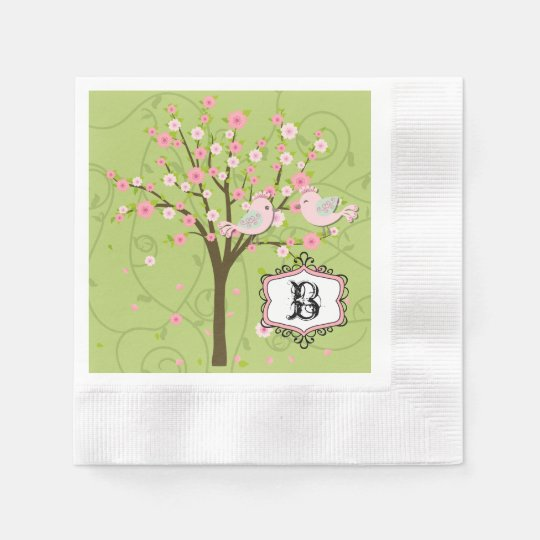 Cherry Blossom Birds Wedding Paper Napkins