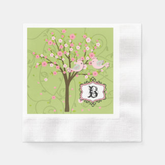 Cherry Blossom Birds Wedding Paper Napkins Paper Napkin