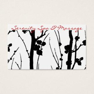 cherry blossom black business card