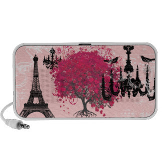 Cherry Blossom Black Chandeliers Eiffel Tower iPhone Speakers