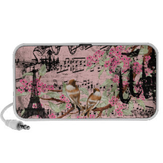 Cherry Blossom Black Chandeliers Eiffel Tower Travelling Speaker