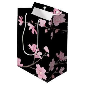 Cherry Blossom - Black Medium Gift Bag
