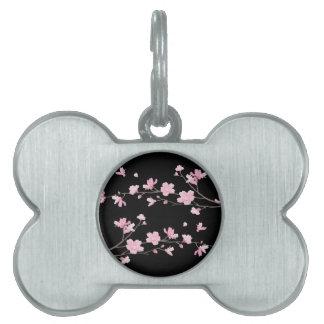 Cherry Blossom - Black Pet Tags