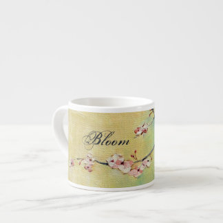 "Cherry Blossom ""Bloom"" Yellow & Mint Espresso Mug"