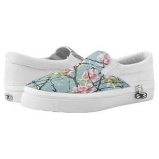 Cherry blossom blue pink floral design printed shoes