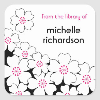 Cherry Blossom bookplates Square Sticker