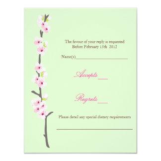 Cherry Blossom Branch RSVP (Green) Custom Announcements