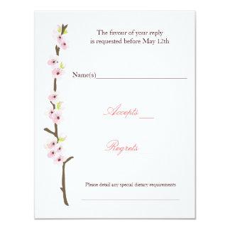 Cherry Blossom Branch RSVP (White) 11 Cm X 14 Cm Invitation Card