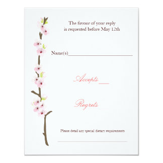 Cherry Blossom Branch RSVP (White) Card