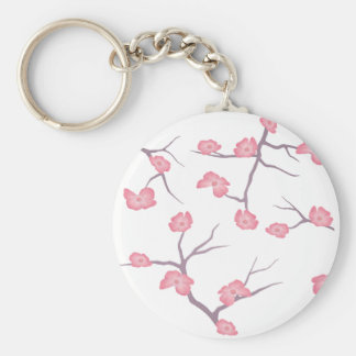 Cherry Blossom Branches Basic Round Button Key Ring