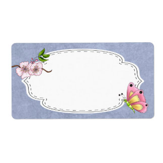 Cherry Blossom Butterfly Label