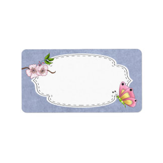 Cherry Blossom Butterfly Label Address Label