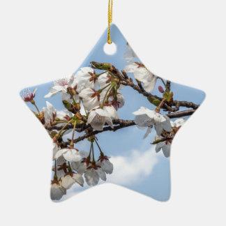 Cherry blossom ceramic star decoration