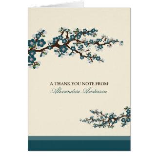 Cherry Blossom Custom Thank You Card (teal)