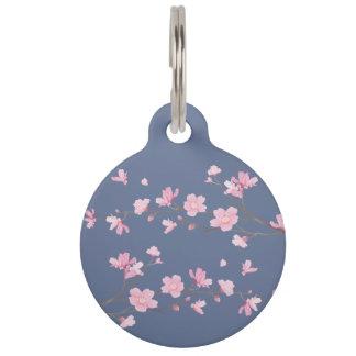 Cherry Blossom - Denim Blue Pet ID Tag