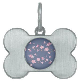 Cherry Blossom - Denim Blue Pet Name Tag