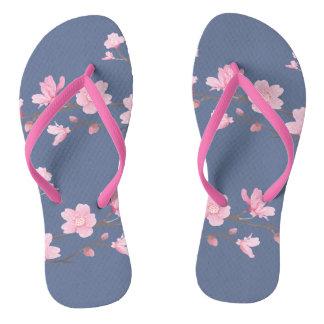 Cherry Blossom - Denim Flip Flops
