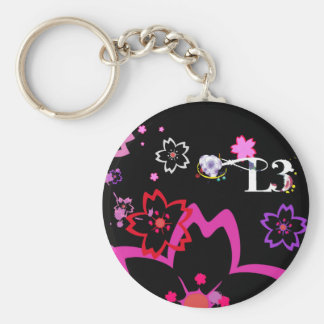 Cherry blossom design 2 basic round button key ring