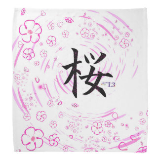 Cherry blossom design head kerchiefs