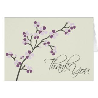 Cherry Blossom Designer Thank You Card 2 (plum)