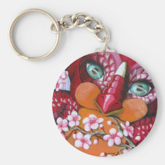 cherry blossom Draakje key-ring Basic Round Button Key Ring