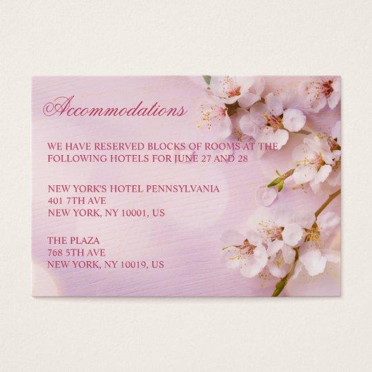 Cherry Blossom Elegant Wedding Accommodation Cards