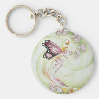 Cherry Blossom Faery Basic Round Button Key Ring