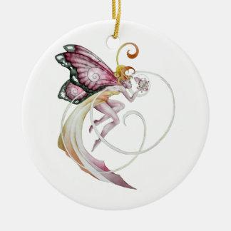 Cherry Blossom Faery Round Ceramic Decoration