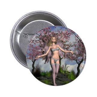 Cherry Blossom Fairy with Cherry Tree background 6 Cm Round Badge