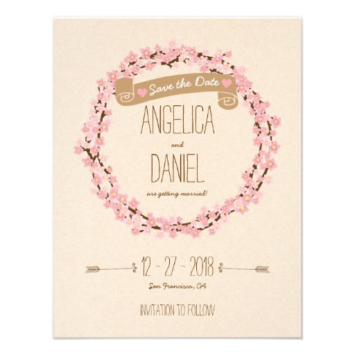 Cherry Blossom Floral Wreath Spring Save the Date Invitations