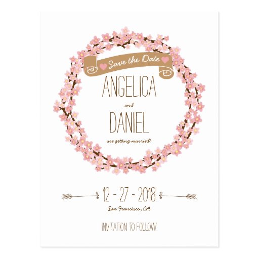 Cherry Blossom Floral Wreath Spring Save the Date Postcard
