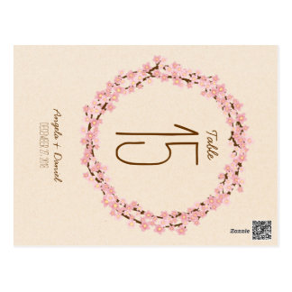 Cherry Blossom Floral Wreath Spring Table Number Postcard