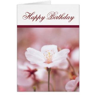 Cherry Blossom Flower Happy Birthday Greeting Card